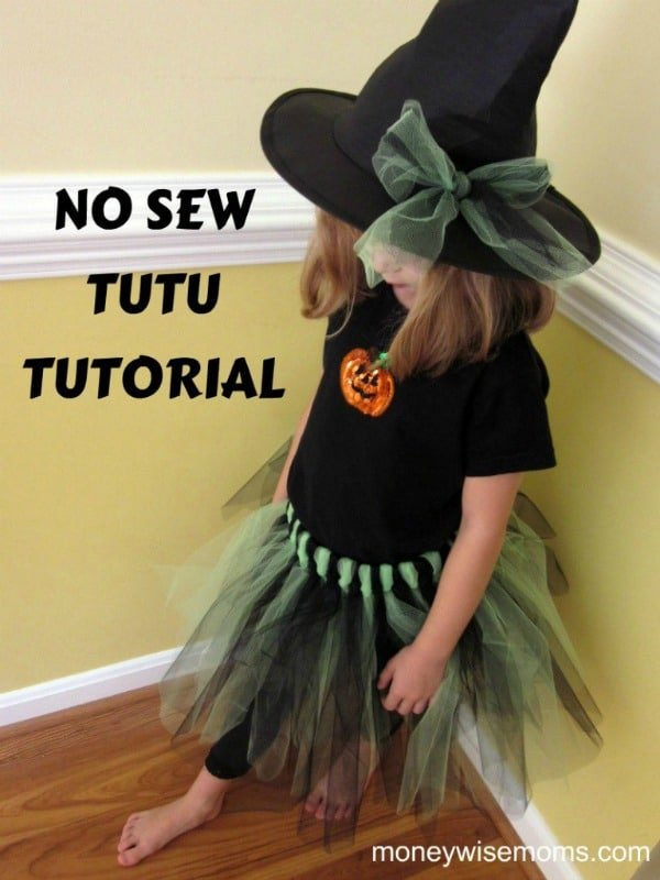 Easy No-Sew Tulle Skirt Tutu Tutorial | #Halloween MoneywiseMoms
