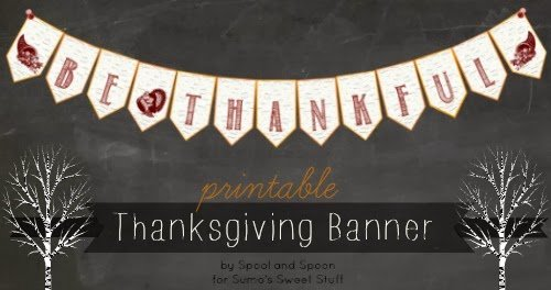 Frugal Thanksgiving Decor | Printable Thanksgiving Banner via @sumossweetstuff