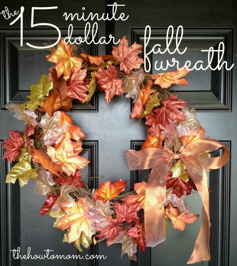 Frugal Thanksgiving Decor | 15 minute 15 dollar fall wreath via @thehowtomom