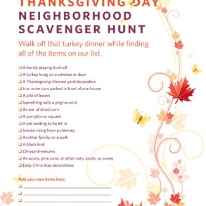 Simple Thanksgiving Activities | Thanksgiving Scavenger Hunt  via @Spoonful