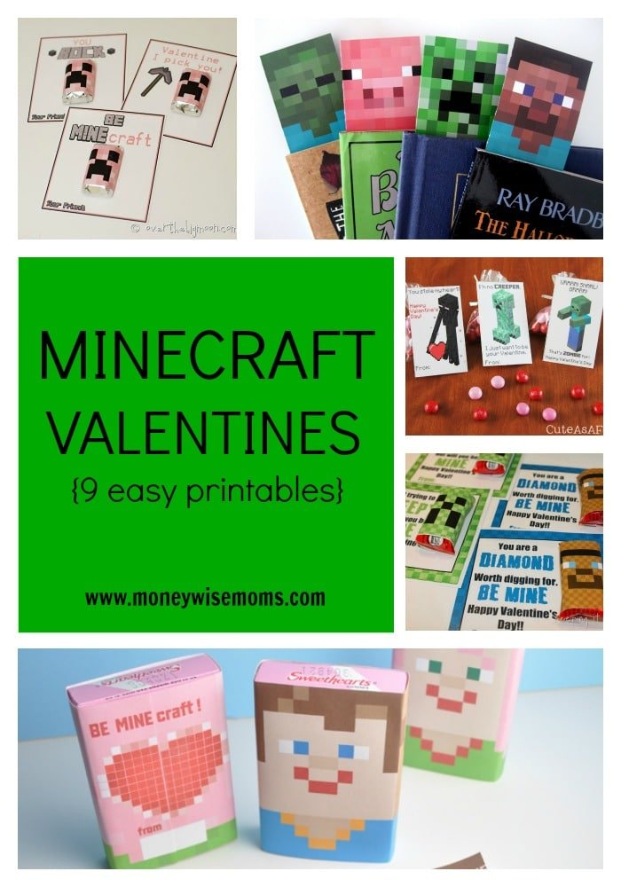 Minecraft Valentines (9 easy printables) | MoneywiseMoms