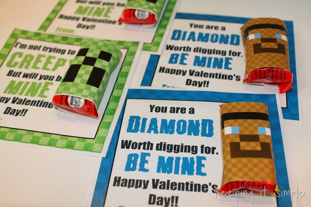 Minecraft Brownie Bites and Candy Wrappers from Keeping it Simple | Minecraft Valentines Roundup at MoneywiseMoms