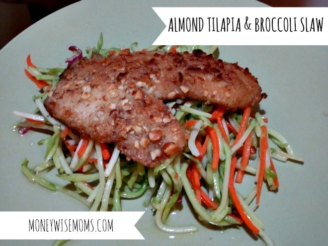 Almond Tilapia and Broccoli Slaw | 7 Easy Tilapia Recipes that even kids will like