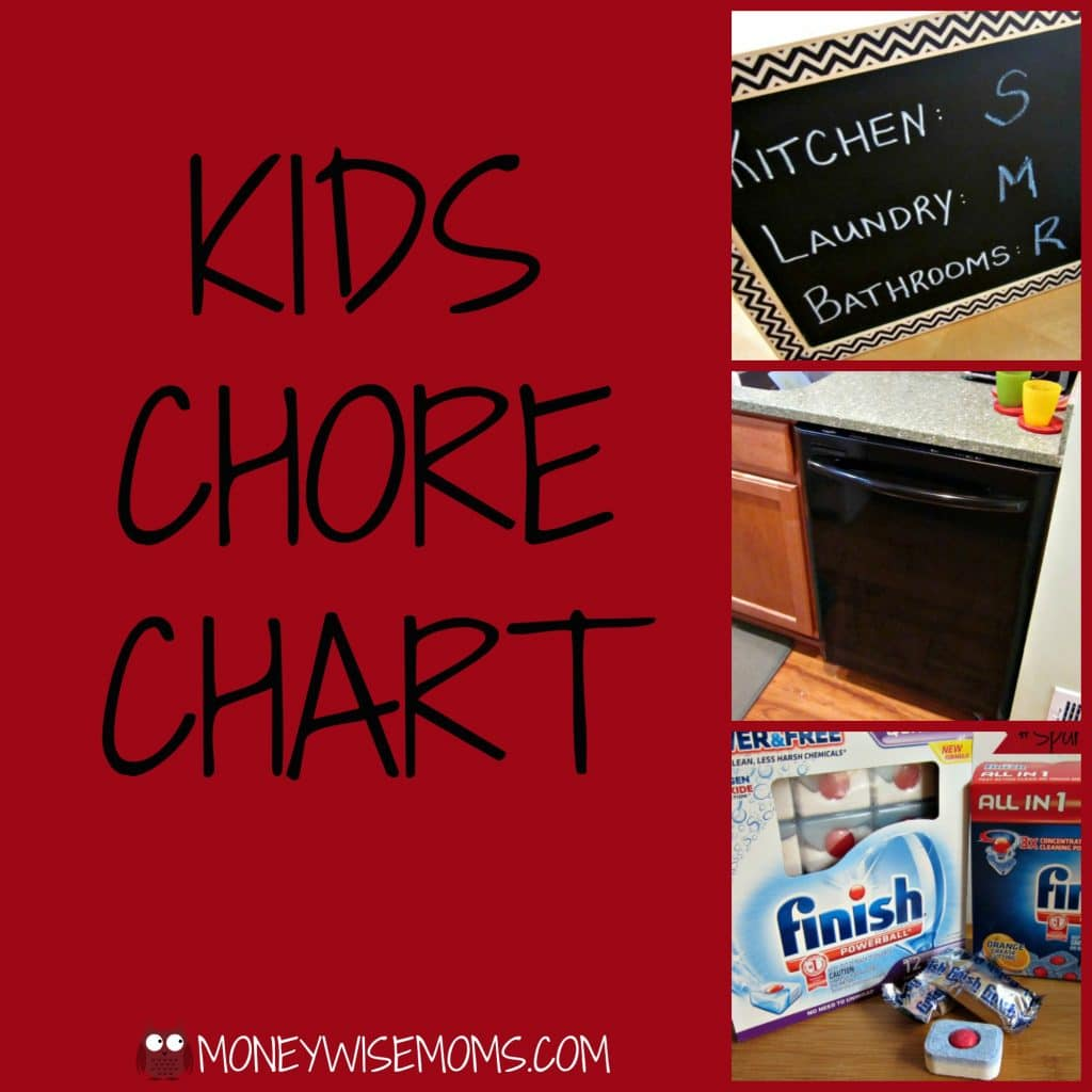 Kids Chore Chart with Finish Dishwasher Detergent #SparklySavings #shop