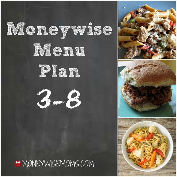 Moneywise Menu Plan - easy frugal meals that are family friendly including more freezer meals