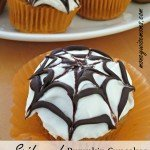 Spiderweb Pumpkin Cupcakes with Cream Cheese Frosting