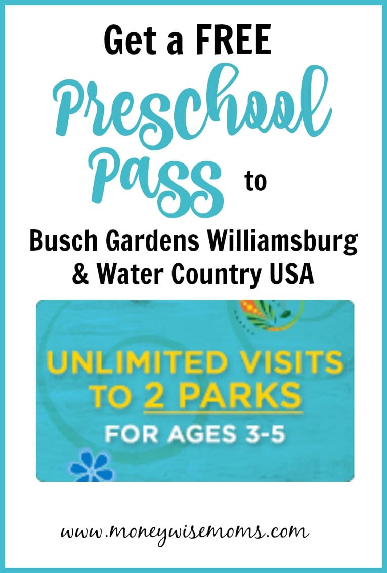2017 Free Preschool Pass To Busch Gardens Williamsburg Water Country USA