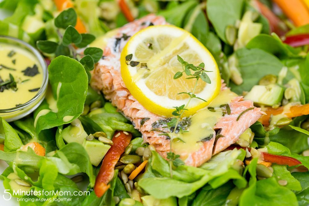 Lemon and Herb Salmon with Honey Mustard Dressing from 5 Minutes for Mom