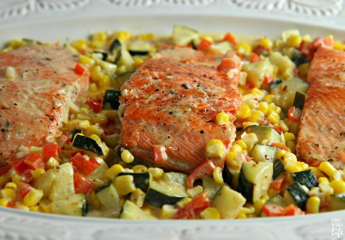 Salmon with Zucchini and Corn Cream Sauce from A Dish of Daily Life